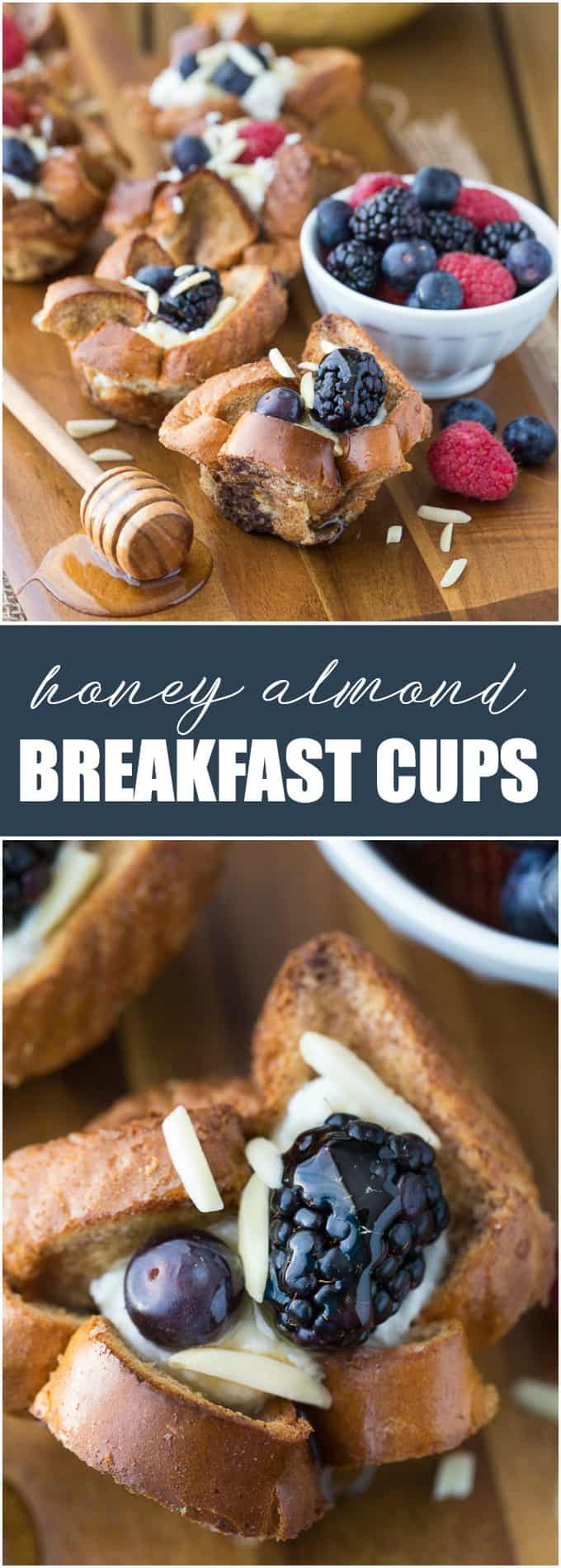 Honey Almond Breakfast Cups - Even the picky eaters loved this easy weekend breakfast recipe! French toast cups are filled with a sweet, creamy ricotta filling and topped with honey, berries and slivered almonds.