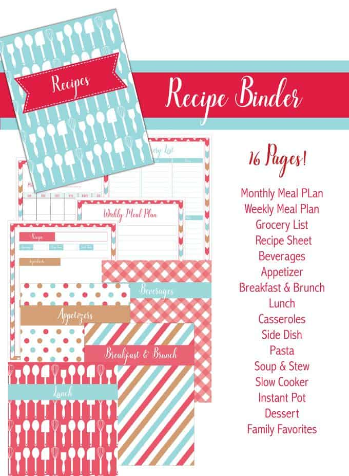 Nifty image for recipe binder cover printable
