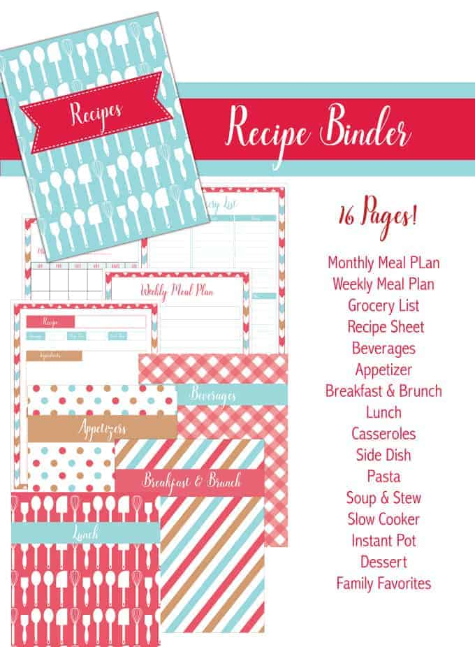 Mesmerizing image intended for free printable recipe binder templates