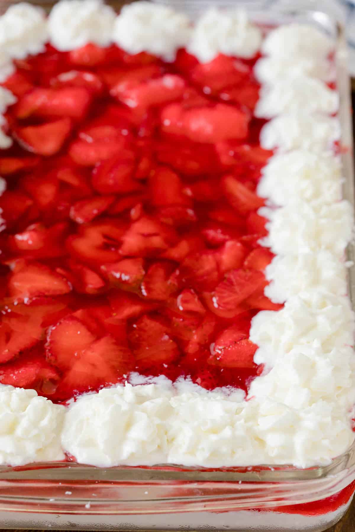 Strawberries in the snow in a casserole pan