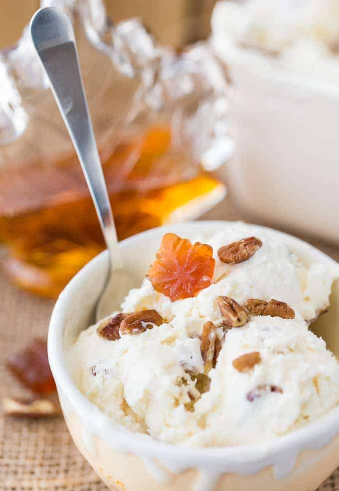 No-Churn Maple Pecan Ice Cream - Creamy, sweet with a little bit of crunch, you