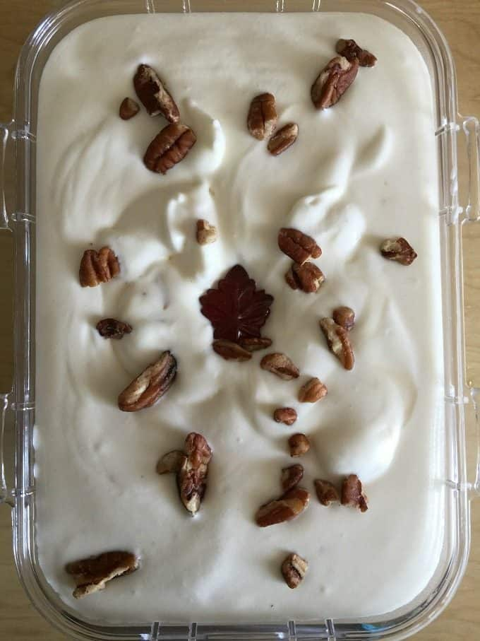 No-Churn Maple Pecan Ice Cream - Creamy, sweet with a little bit of crunch, you'll love the flavour the maple syrup adds to this ice cream recipe.