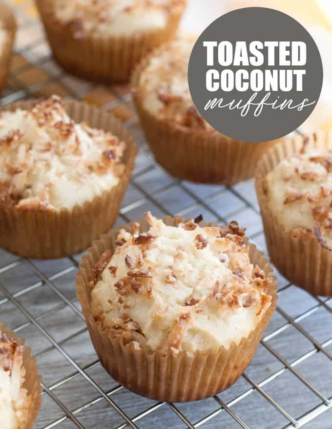 Toasted Coconut Muffins - These easy to make muffins are my daughter's favorites! Enjoy the delicious coconut flavor and toasted coconut streusel topping.