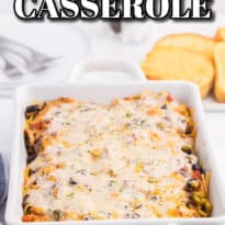 spaghetti casserole in a white casserole dish