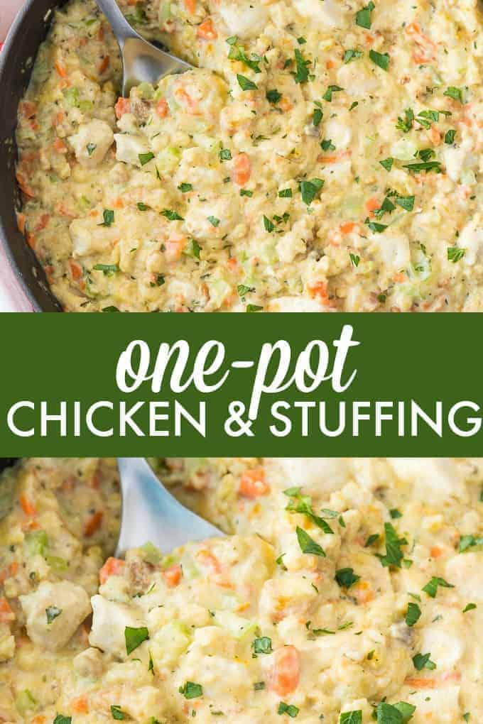 One-Pot Chicken & Stuffing - Easy comfort food for the win! You'll love this savoury, flavourful dish.