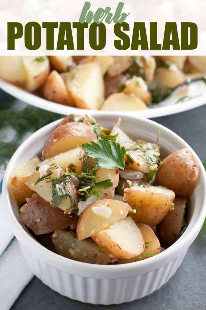 Herb Potato Salad - Keep it clean with this dairy-free potato salad! This easy side dish recipe feels fancy with fresh herbs and red potatoes.
