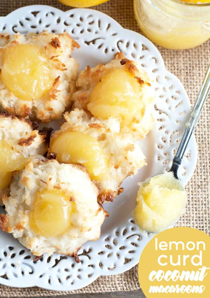 Lemon Curd Coconut Macaroons - Soft and chewy, filled with sweetened coconut and topped with an easy homemade lemon curd. A delicious spring or summer treat!