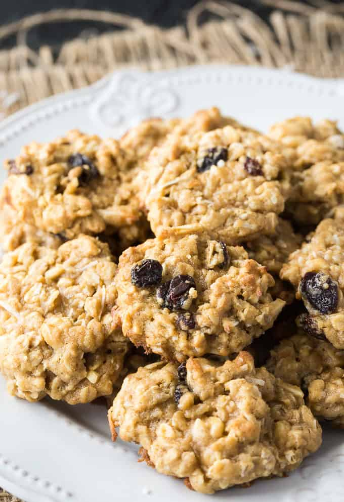 Trail Mix Oatmeal Cookies - Chewy and packed full of delicious flavour and texture. These cookies are wonderful served with a cold glass of milk.