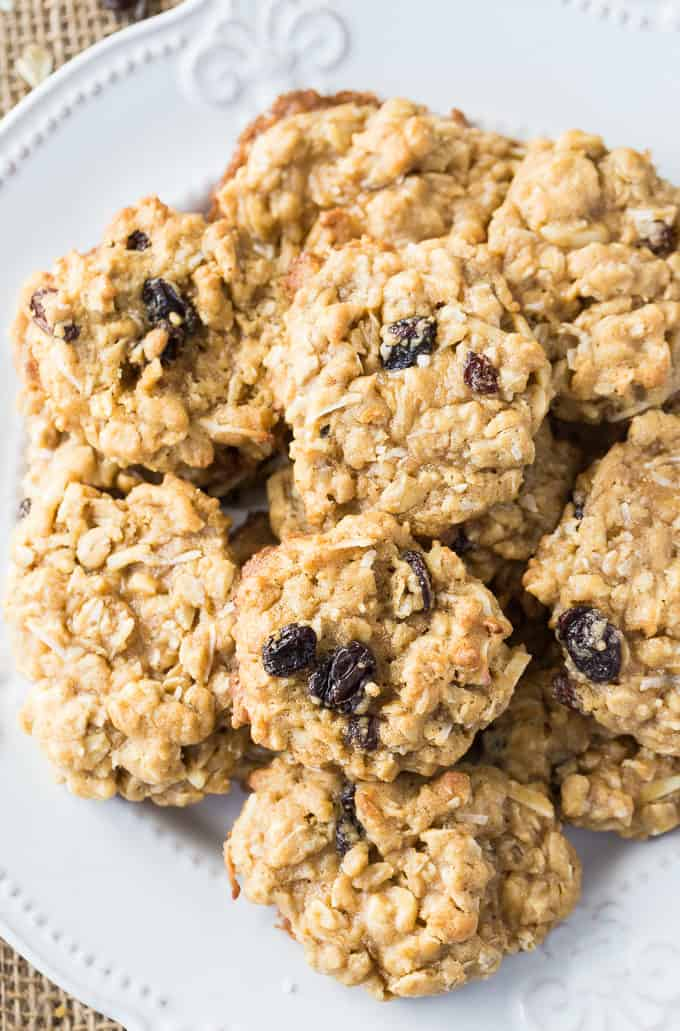Trail Mix Oatmeal Cookies - An easy cookie recipe packed with mix-ins! Loaded with raisins, coconut, almonds, and brown sugar.