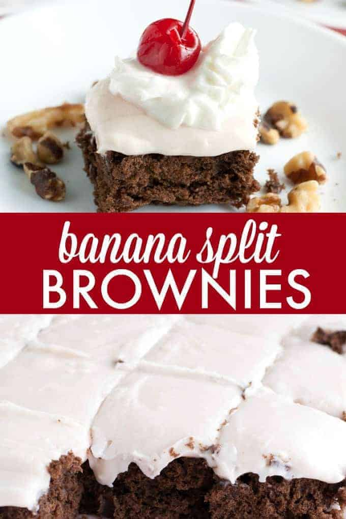 Banana Split Brownies - Delicious homemade brownies with a hint of banana and topped with strawberry cream cheese frosting. A fun dessert that everyone will enjoy!