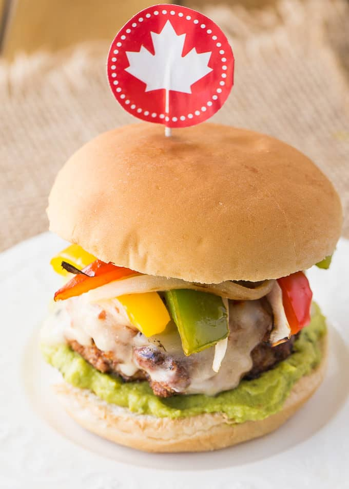 Chicken Fajita Burgers - A party of flavours in your mouth! Fire up the grill and make these spicy burgers this summer.