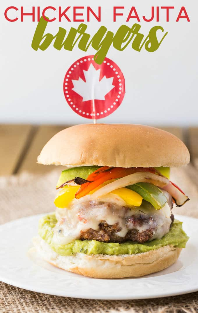 Chicken Fajita Burgers - Skip the beef for this barbecue recipe! These lean cheeseburgers are topped with your favorite fajita veggies and all the spices.