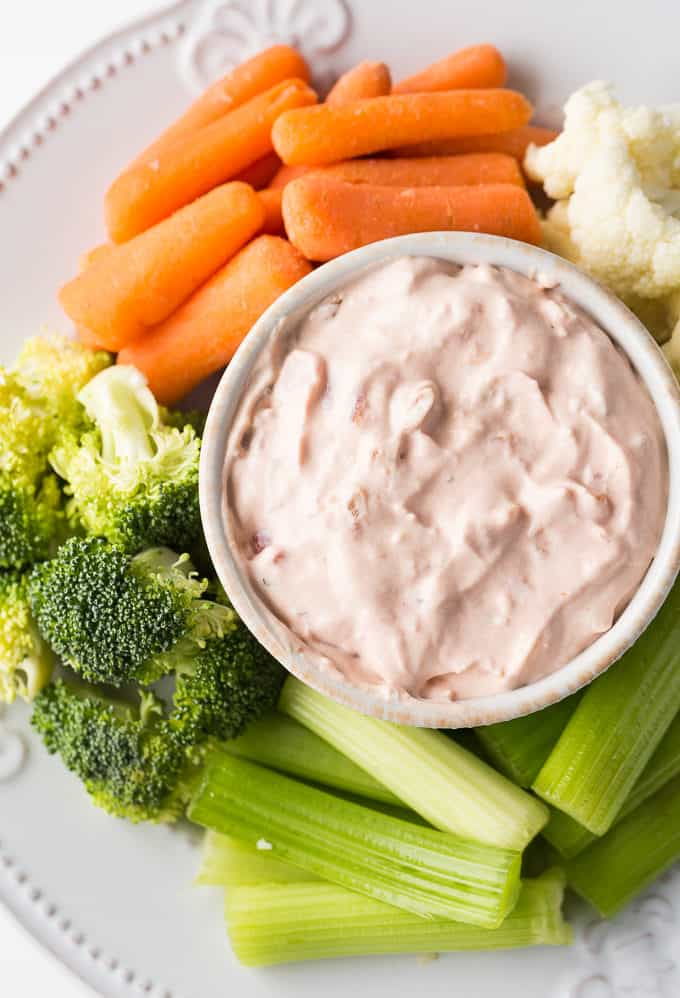 Creamy Salsa Dip - The tastiest veggie dip! Take your favorite Mexican appetizer and make it creamy for this Taco Tuesday.