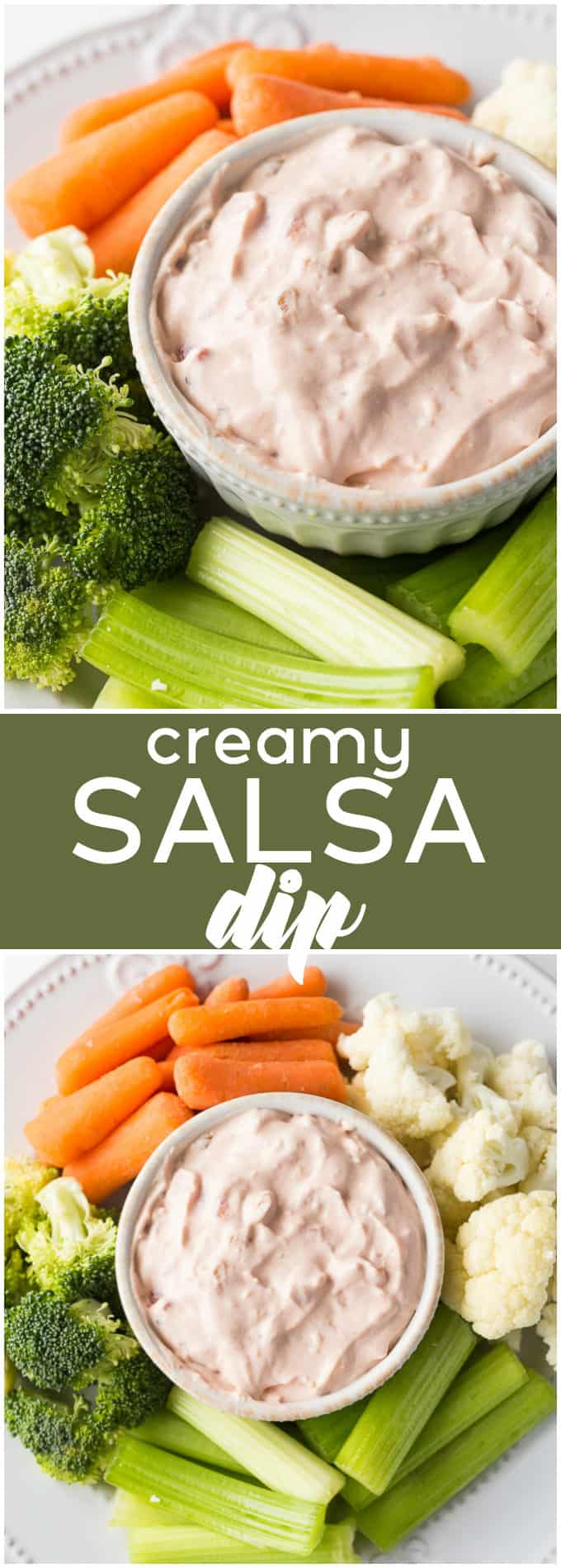 Creamy Salsa Dip - Only three ingredients in this simple dip recipe. It's always a hit at summer BBQs!