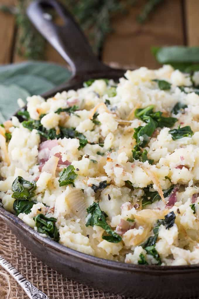 Olive Oil Mashed Potatoes with Kale & Herbs - Simply Stacie