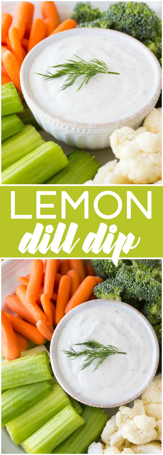 Lemon Dill Dip - Creamy with a hint of tang and fresh dill flavour. You are going to love eating this one with some fresh veggies!