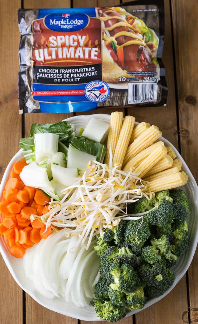 Spicy Stir-Fry - Spicy chicken frankfurters add an extra kick of fiery flavour to a stir-fried vegetable medley.