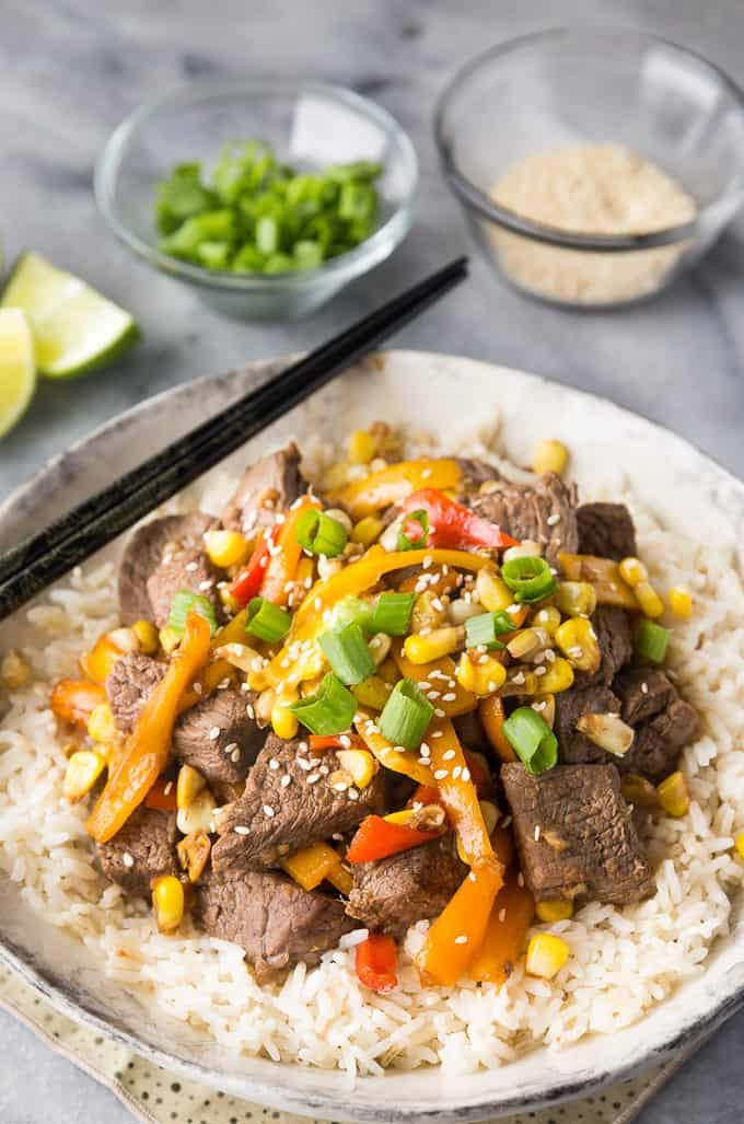 Steak Stir-Fry - Tender top sirloin steak and fresh veggies make this dish the perfect family meal!