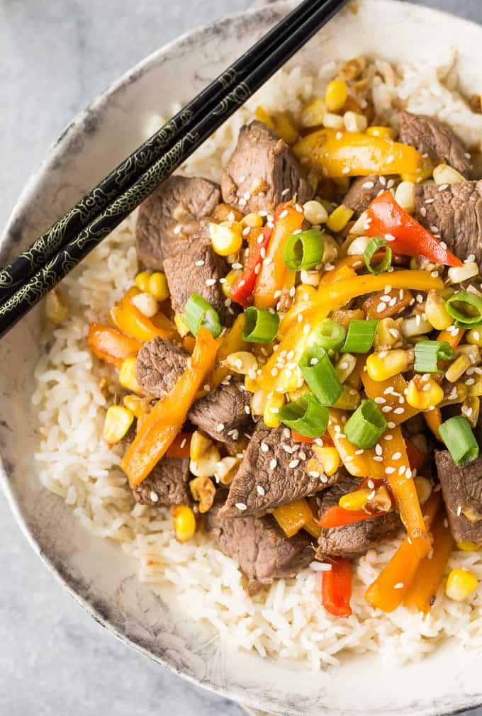 Steak Stir-Fry - Tender top sirloin steak and fresh veggies make this dish the perfect family meal!