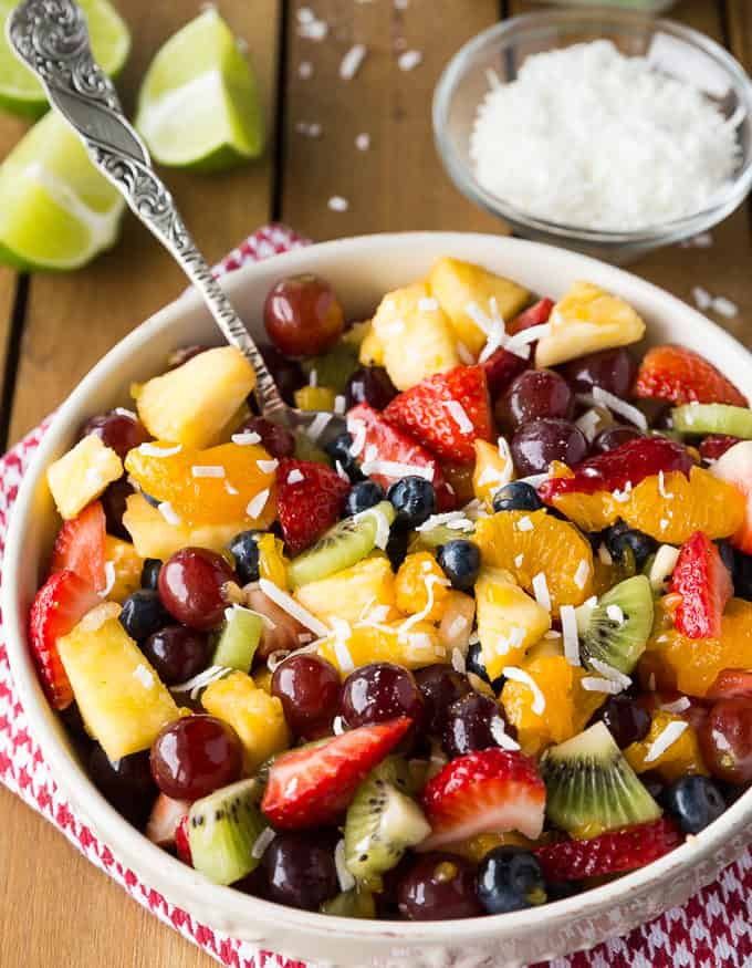 Rainbow Fruit Salad - So fresh and vibrant! This simple fruit salad is packed full of natural sweetness.