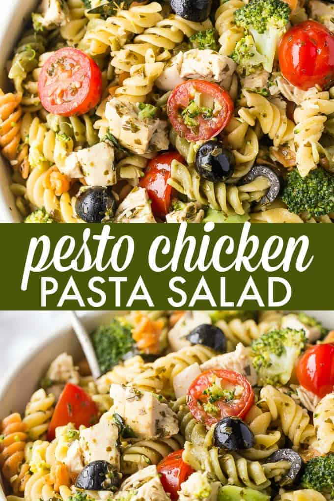 Pesto Chicken Pasta Salad - Tender white chicken morsels, fresh veggies, black olives all wrapped in a flavourful pesto sauce.