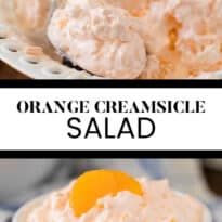Orange Creamsicle Salad - The fluffiest dessert! You'll dream about your childhood ice cream cravings with this creamy fruit salad with cottage cheese, Jello, and mandarin oranges.