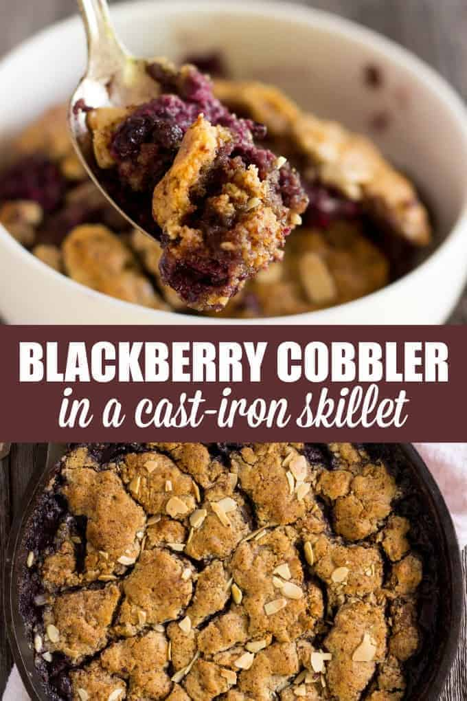 Blackberry Cobbler in a Cast-Iron Skillet - The closest you can get to the Old-Fashioned recipe while staying 100% healthy.