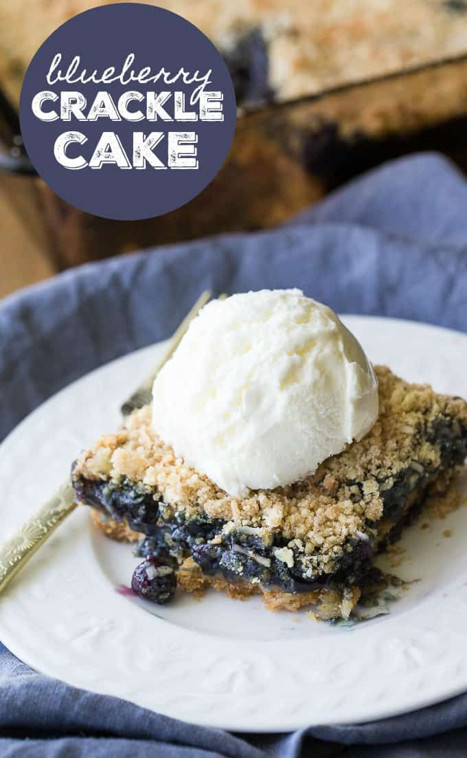 Blueberry Crackle Cake - Cake and crumble combine for this delicious and fruity old-fashioned dessert. Top with some vanilla ice cream!