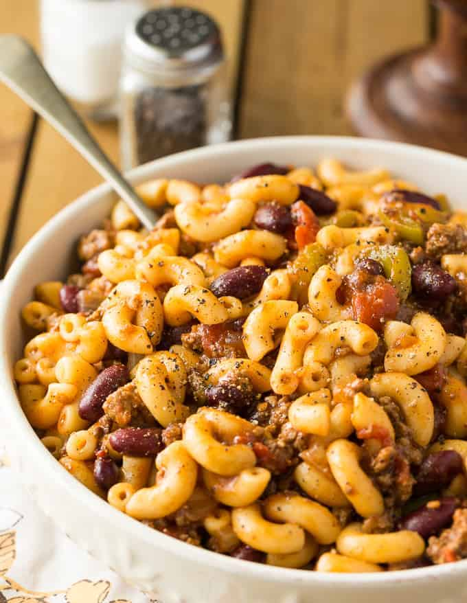 Chili Macaroni - Add some elbow noodles to your traditional chili! Your favorite comforting soup recipe is made even more filling with extra noodles in the beans, meat, and veggies.