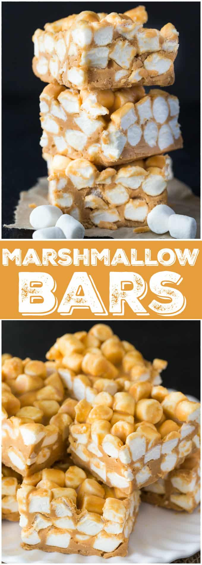Marshmallow Bars - Delicious no-bake dessert! Peanut butter, marshmallows, and butterscotch are combined in these bars.