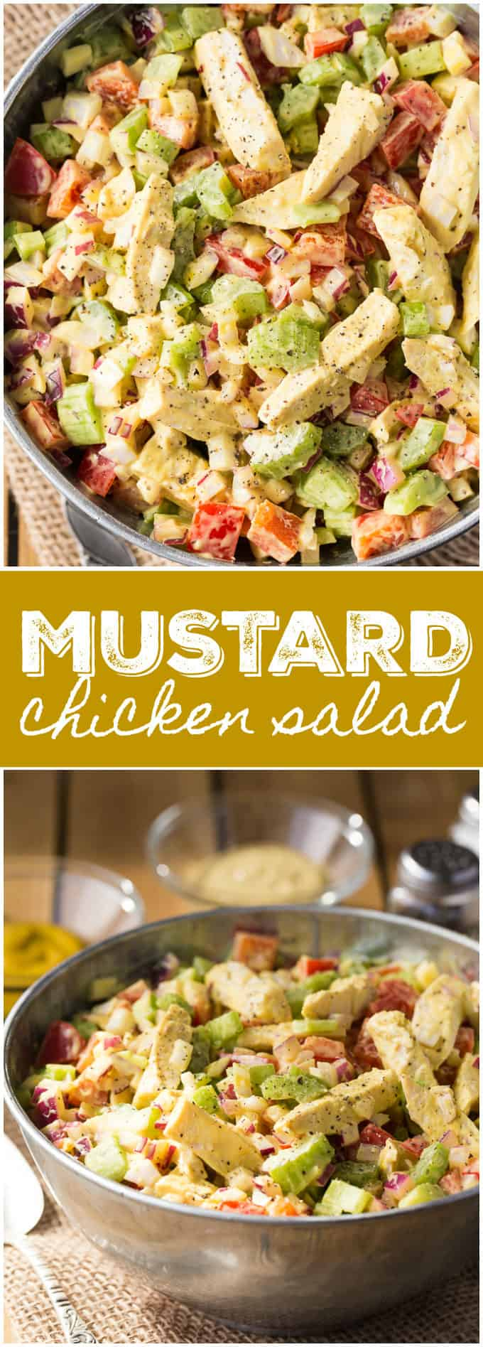 Mustard Chicken Salad - Healthy and full of delicious flavour and texture! Serve this simple salad at your next BBQ or picnic.