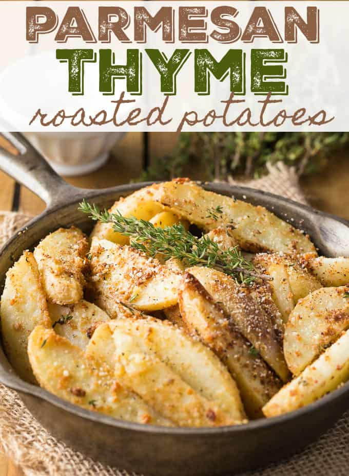 Parmesan Thyme Roasted Potatoes are an epic side dish that is loaded with rich and savory flavors. Potato wedges that are seasoned with thyme and parmesan and baked to a golden perfection.