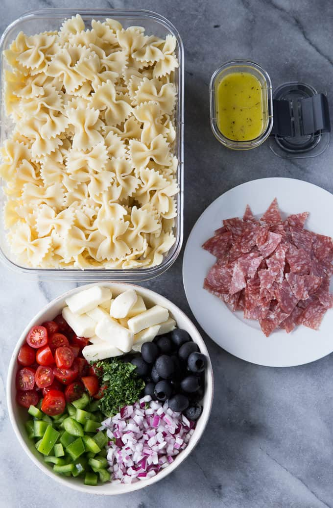 Italian Pasta Salad - Packed full of deliciousness, this pasta salad will be a hit at your summer gatherings!