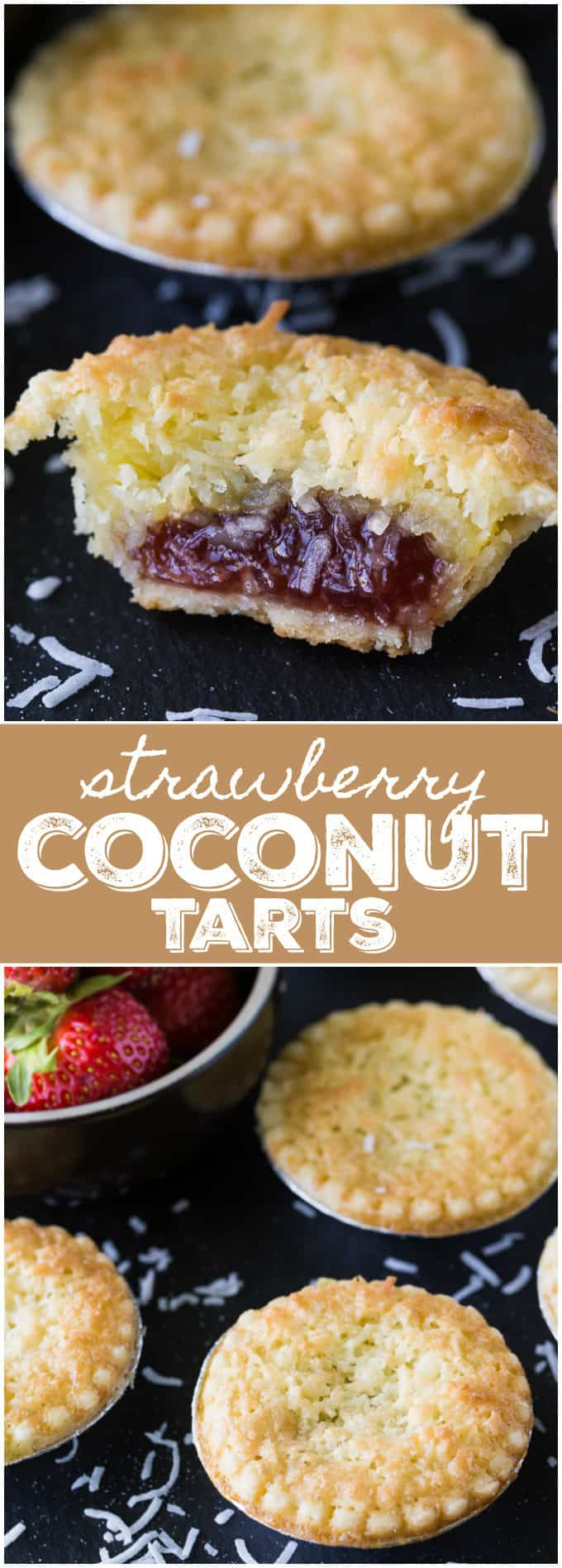 Strawberry Coconut Tarts - Tiny tarts perfect for parties! Strawberry jam is surrounded by a coconut pie.
