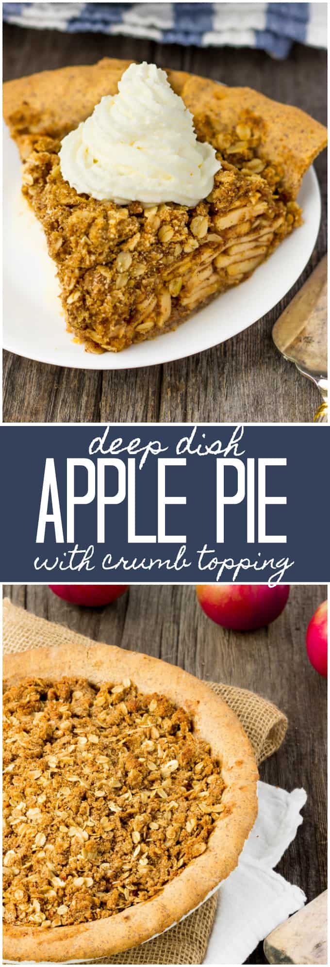 Deep Dish Apple Pie with Crumb Topping - The perfect fall dessert. This easy to make and 100% healthy dessert is made of 100% real food ingredients. It is gluten-free, vegan, dairy-free, flourless, egg-free and full of flavor!