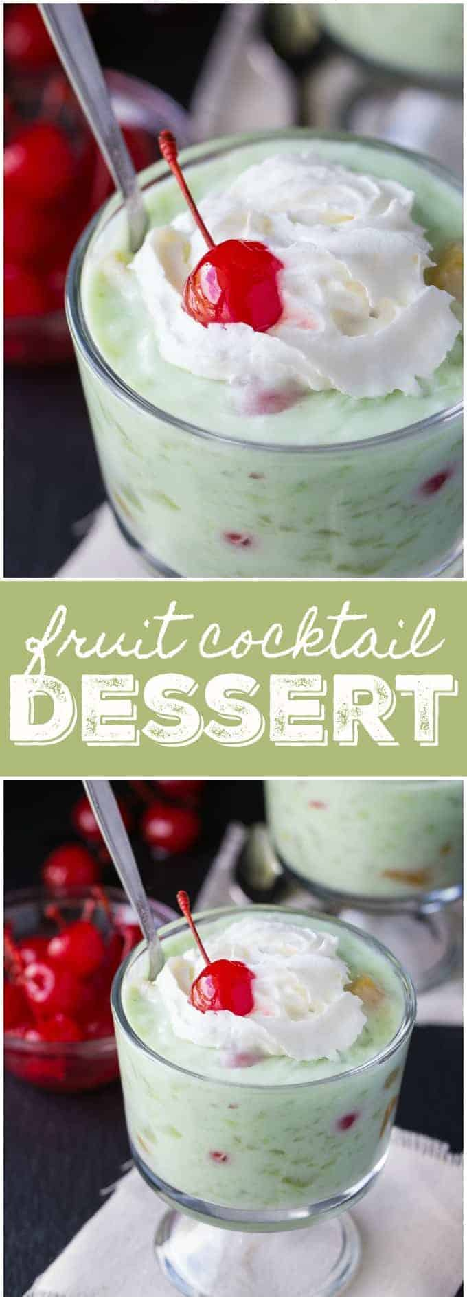 Fruit Cocktail Dessert - A vintage Jell-o treat! Stunningly green for your easy Easter dessert. It's so creamy, sweet and full of yummy fruit flavor!