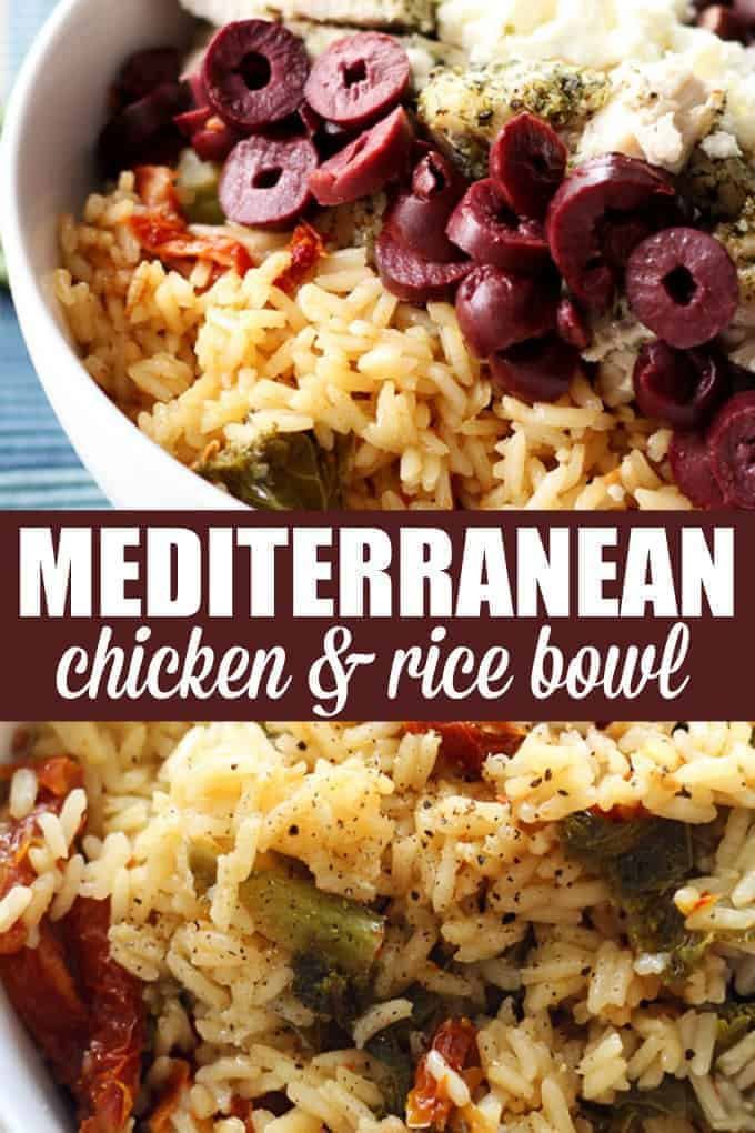 Mediterranean Chicken and Rice Bowl - Pile all your Greek favorites into one bowl for the perfect lunch or dinner! This easy recipe is perfect for meal prep and very versatile.