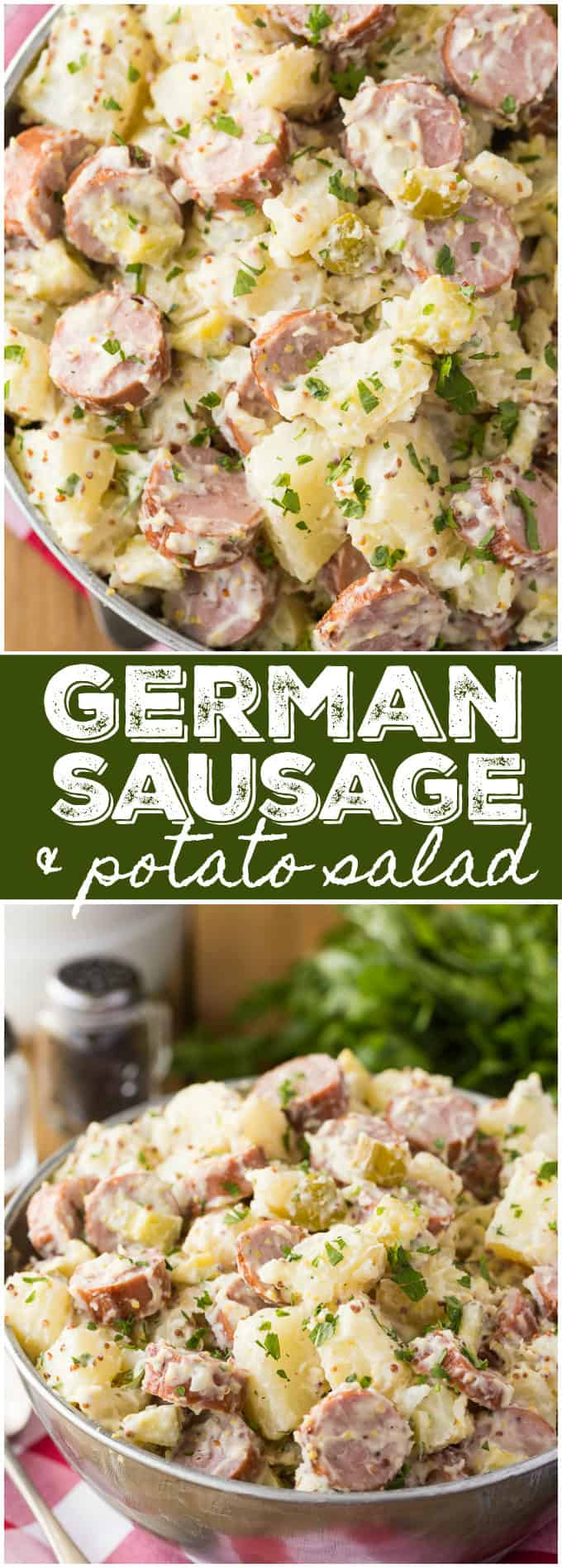 German Sausage & Potato Salad - You'll love how creamy this savoury/smoky salad is! It's the perfect summer side for your BBQs.