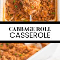 long collage of cabbage roll casserole