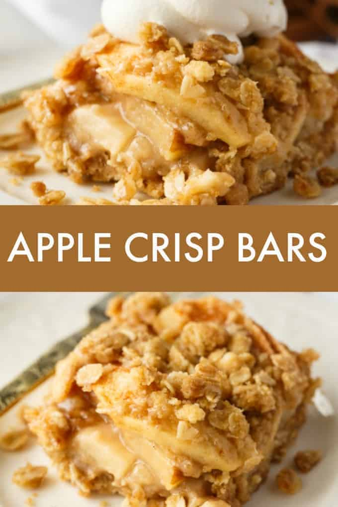 Apple Crisp Bars - An easy fall dessert with fresh apples and oats. Perfect topped with whipped cream!