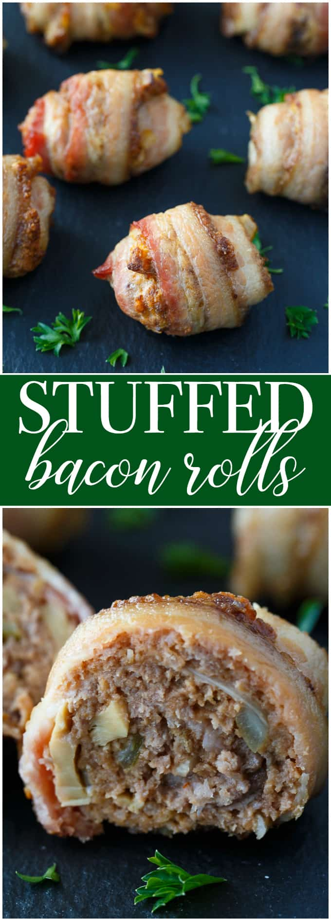 Stuffed Bacon Rolls - A savoury appetizer packed full of yummy flavour. Everything is better wrapped in bacon!