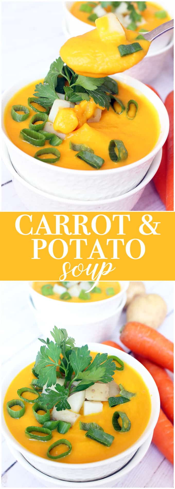 Carrot and Potato Soup - This super creamy vegetarian soup is filled with warm flavors of sweet carrots and yummy potatoes with ginger, parsley, and sour cream.