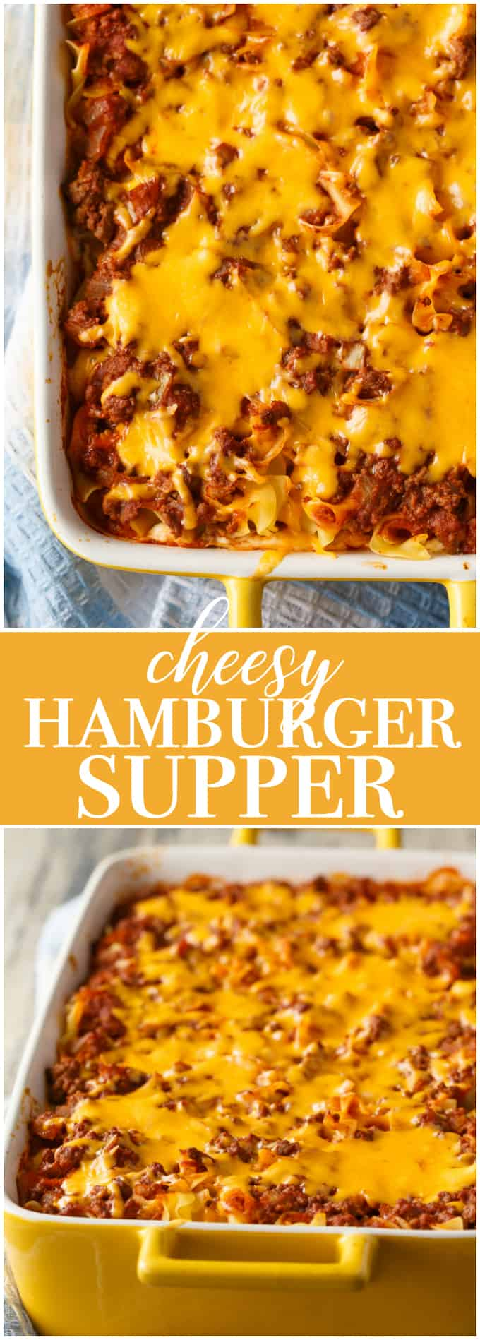 Cheesy Hamburger Supper - This casserole might remind you of a lasagna. It has the same cheesy tomato flavours, but the addition of cream cheese makes it even better!
