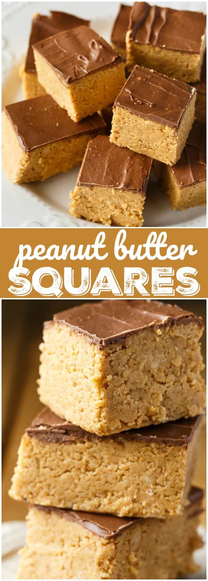 Peanut Butter Squares - A simple, no-bake dessert with an extra thick layer of sweet peanut butter followed by rich milk chocolate.