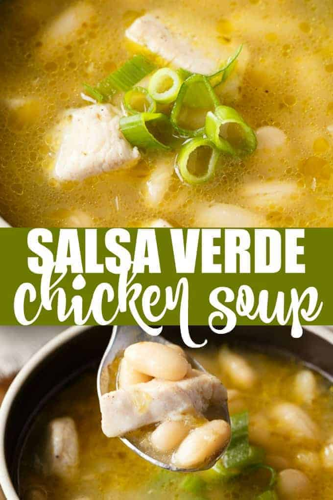 Salsa Verde Chicken Soup - A quick and easy weeknight soup! Add a kick to your chicken soup with this light and warming salsa verde broth.