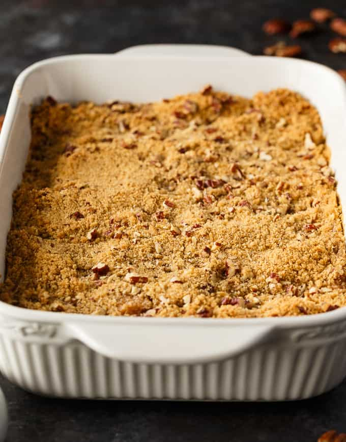 Sweet Potato Casserole - This simple Thanksgiving side dish is dessert-like! The filling is creamy and sweet and the topping adds an extra bit of flavour and crunch.