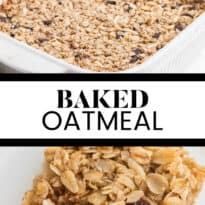 Baked Oatmeal - This baked oatmeal is hearty, warm and filling. Loaded with apples, raisins and almonds, or whatever your favourite additions are, the whole family is sure to enjoy it!