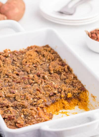 Sweet potato casserole with servings out of it