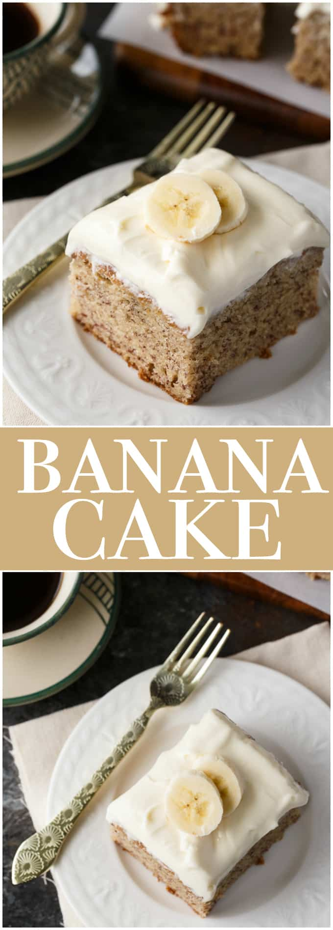 Banana Cake - An amazingly moist cake covered in cream cheese frosting. A perfect use for brown bananas!