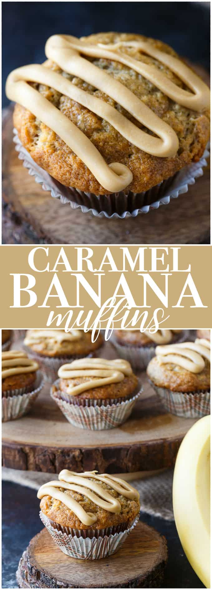 Caramel Banana Muffins - Incredibly moist and flavourful banana muffins topped with a sinfully sweet ribbon of homemade caramel.